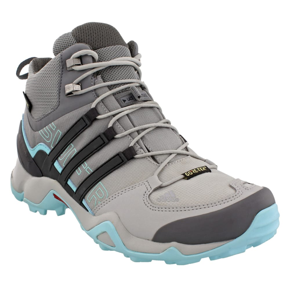 ADIDAS Women's Terrex Swift R Mid GTX Hiking Shoes, Grey Two/Utility Black/Clear Aqua - GREY/BLACK/AQUA