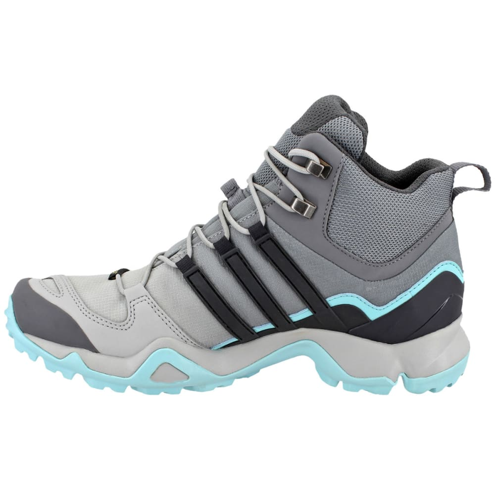 ADIDAS Women's Terrex Swift R Mid GTX Hiking Shoes, Grey Two/Utility Black/Clear Aqua - GREY/BLACK/AQUA