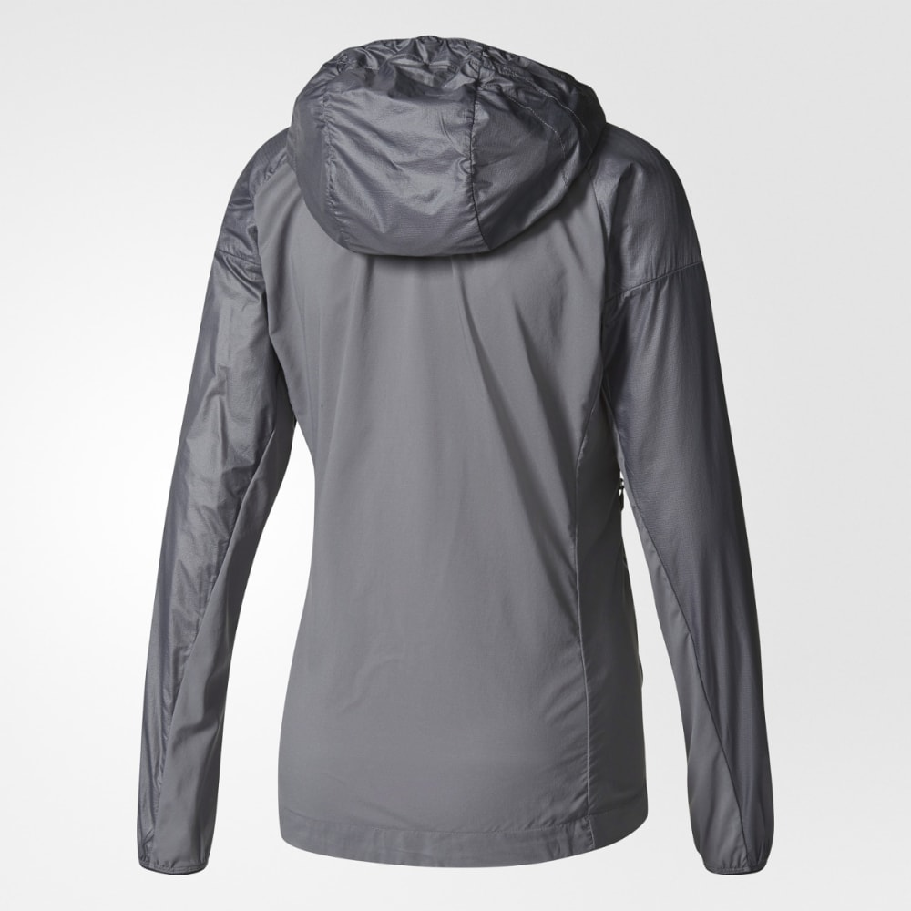 ADIDAS Women's Terrex Agravic Alpha Hooded Shield Outdoor Jacket - GREY FIVE