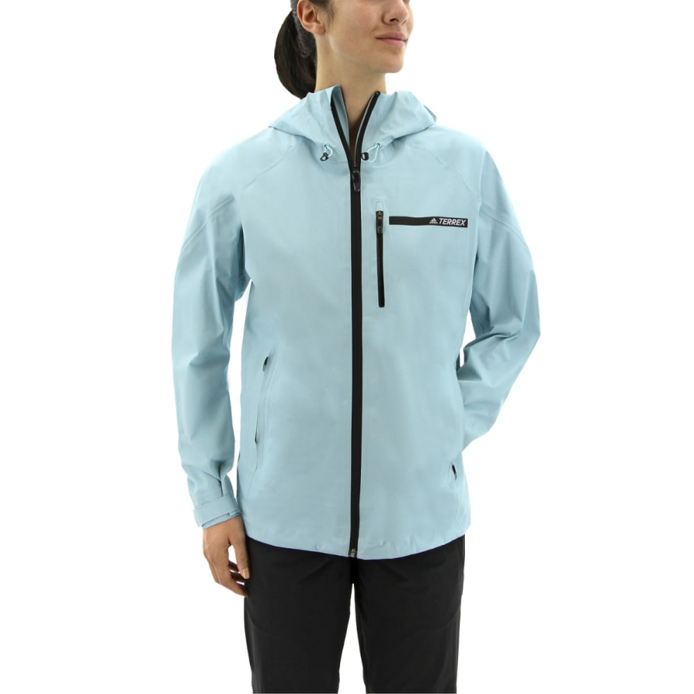 ADIDAS Women's Terrex Fast Gore-Tex Active Shell Packable Hooded Jackets - CLEAR AQUA