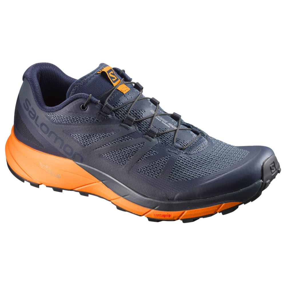 SALOMON Men's Sense Ride Trail Running Shoes, Navy Blazer/Marigold 8