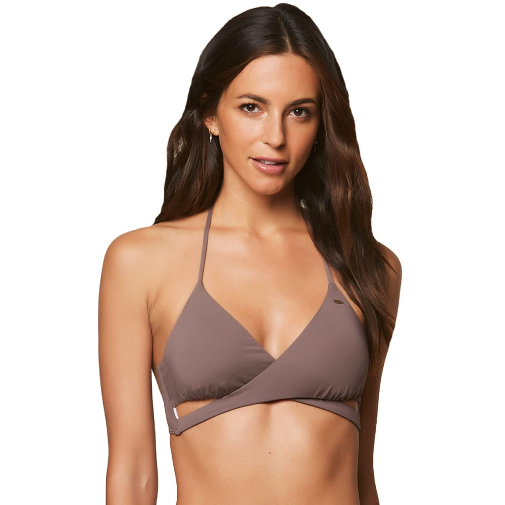 O'NEILL Juniors' Salt Water Solids Wrap Bikini Top - PEP-PEPPER