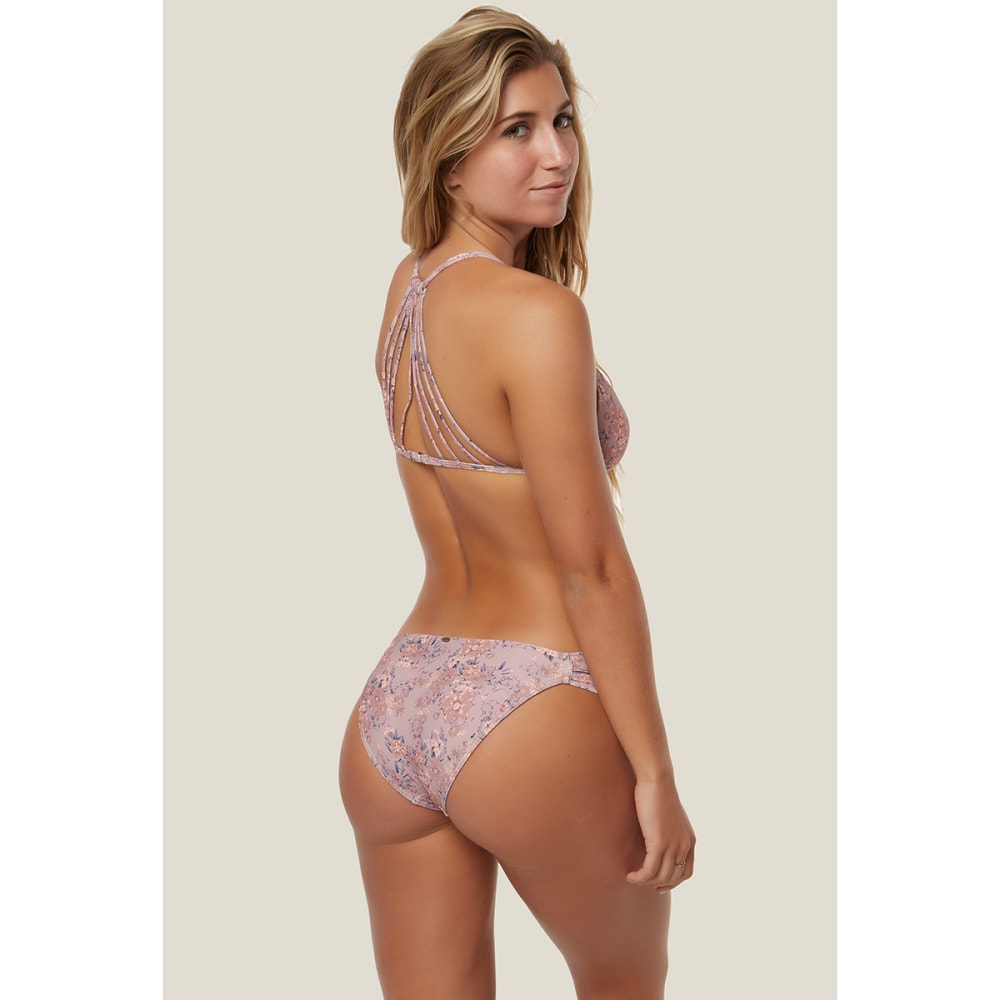 O'NEILL Juniors' Calvin Floral Tab Side Bikini Bottoms - NAT-NATURAL