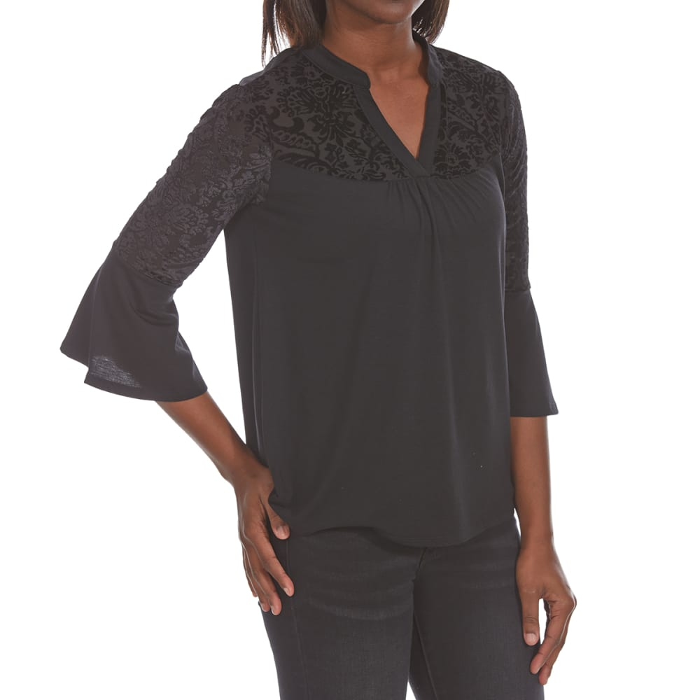 ABSOLUTELY FAMOUS Women's Burnout Velvet Yoke Top - BLACK