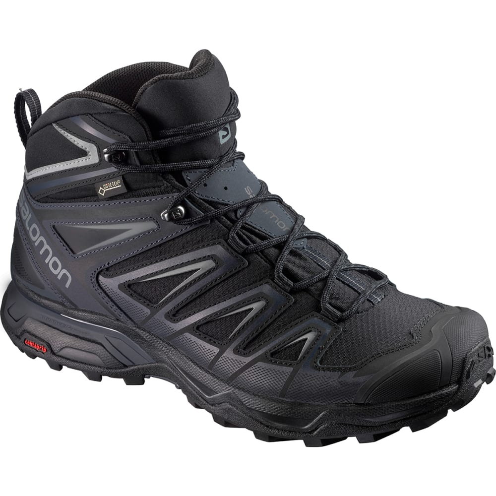 SALOMON Men's X Ultra 3 Mid GTX Waterproof Hiking Boots, Wide - BLACK