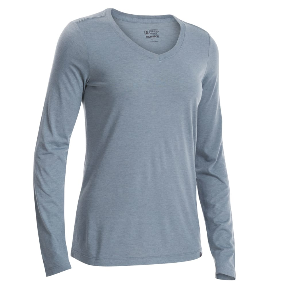 EMS Women's Techwick Vital V-Neck Long-Sleeve Tee - NEUTRAL GREY HTR