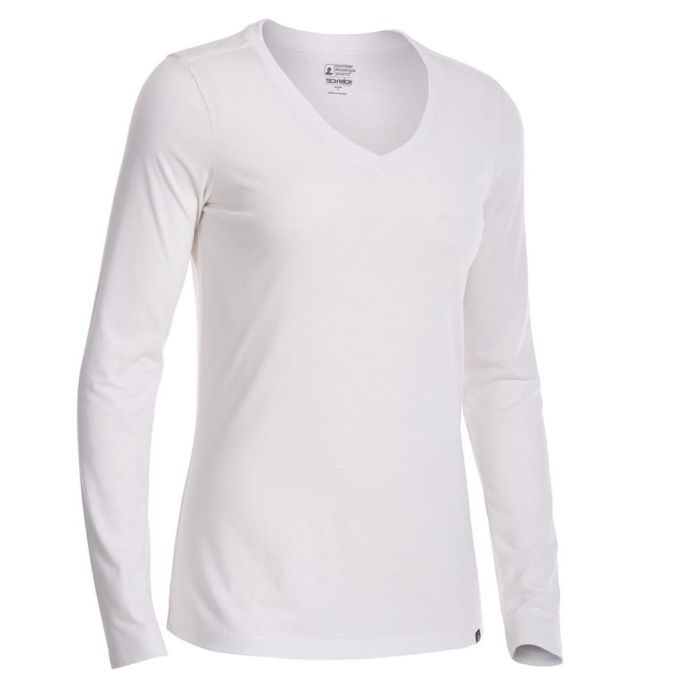 EMS Women's Techwick Vital V-Neck Long-Sleeve Tee - SNOW WHITE