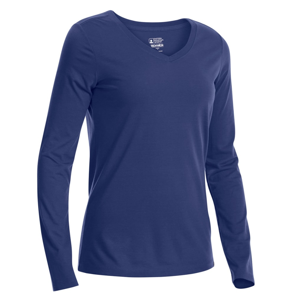 EMS Women's Techwick Vital V-Neck Long-Sleeve Tee - BLUE PRINT
