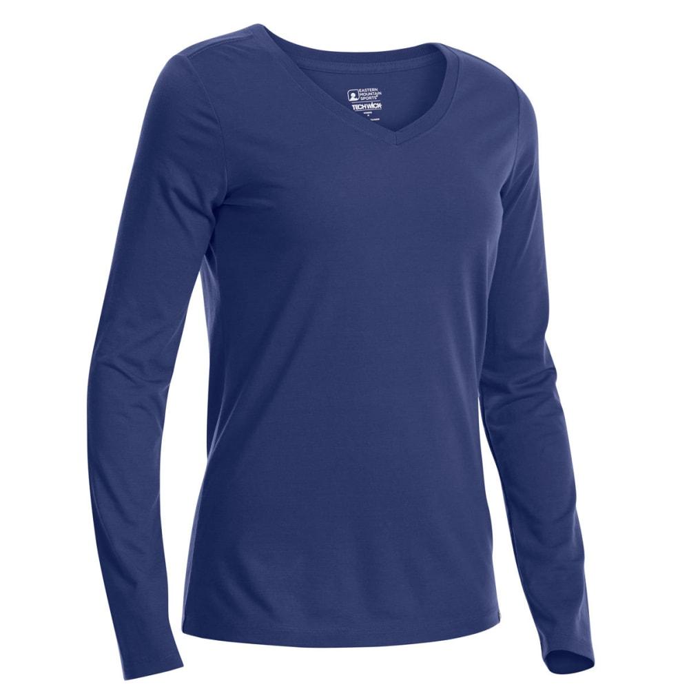 EMS Women's Techwick Vital V-Neck Long-Sleeve Tee - BLUE PRINT