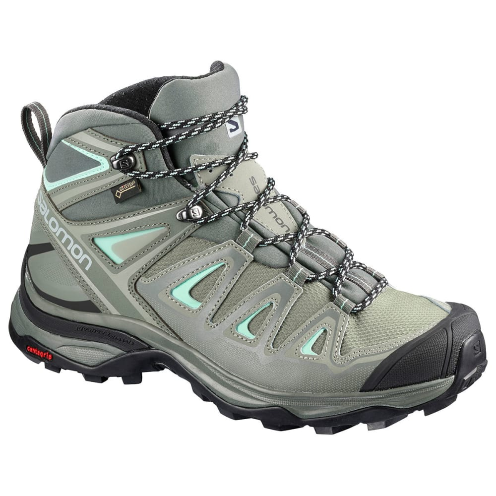 SALOMON Women's X Ultra 3 Mid GTX Waterproof Hiking Boots, Wide - SHADOW/CASTOR GRAY