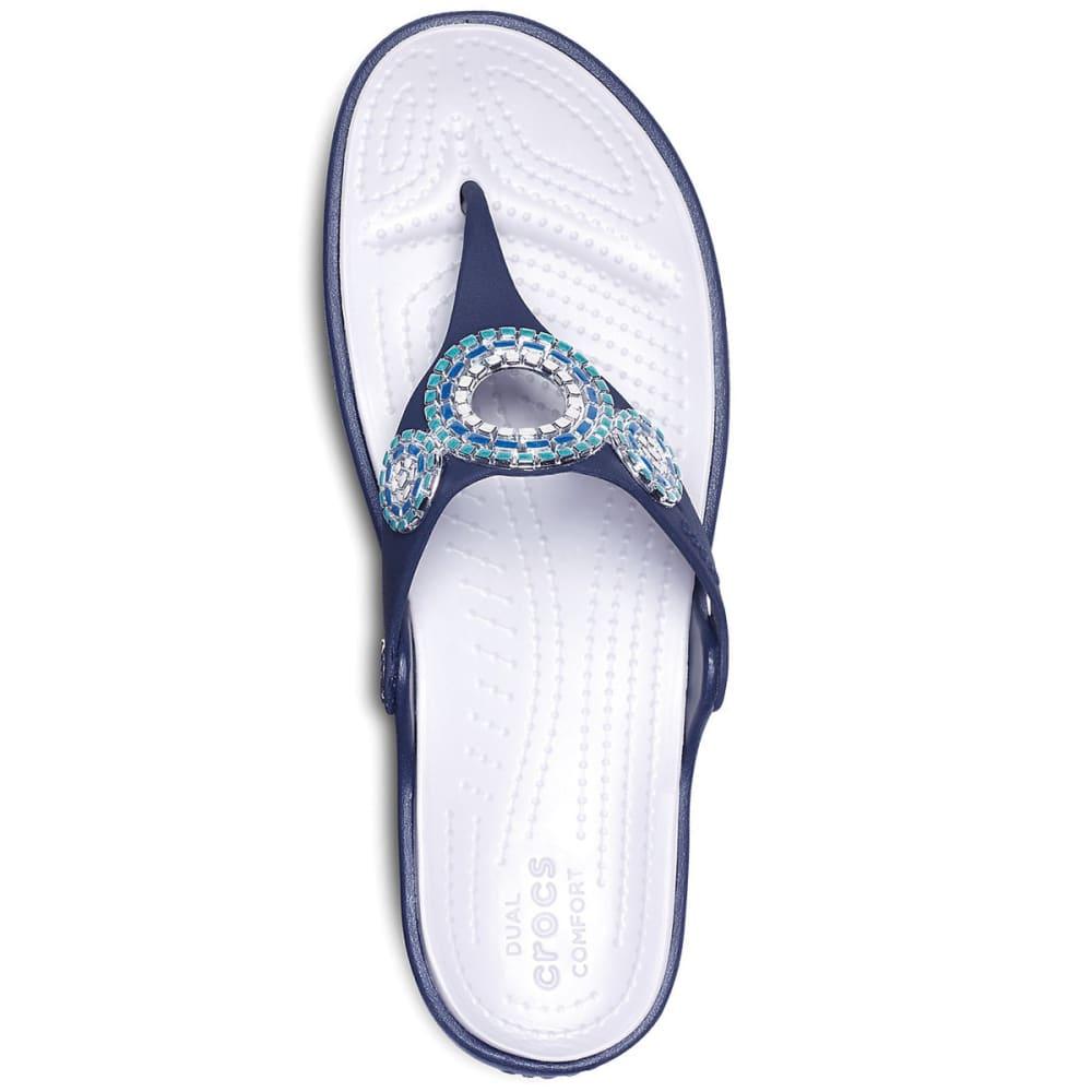 CROCS Women's Sanrah Embellished Diamante Wedge Flip Sandals - NAVY/TURQ - 4AD