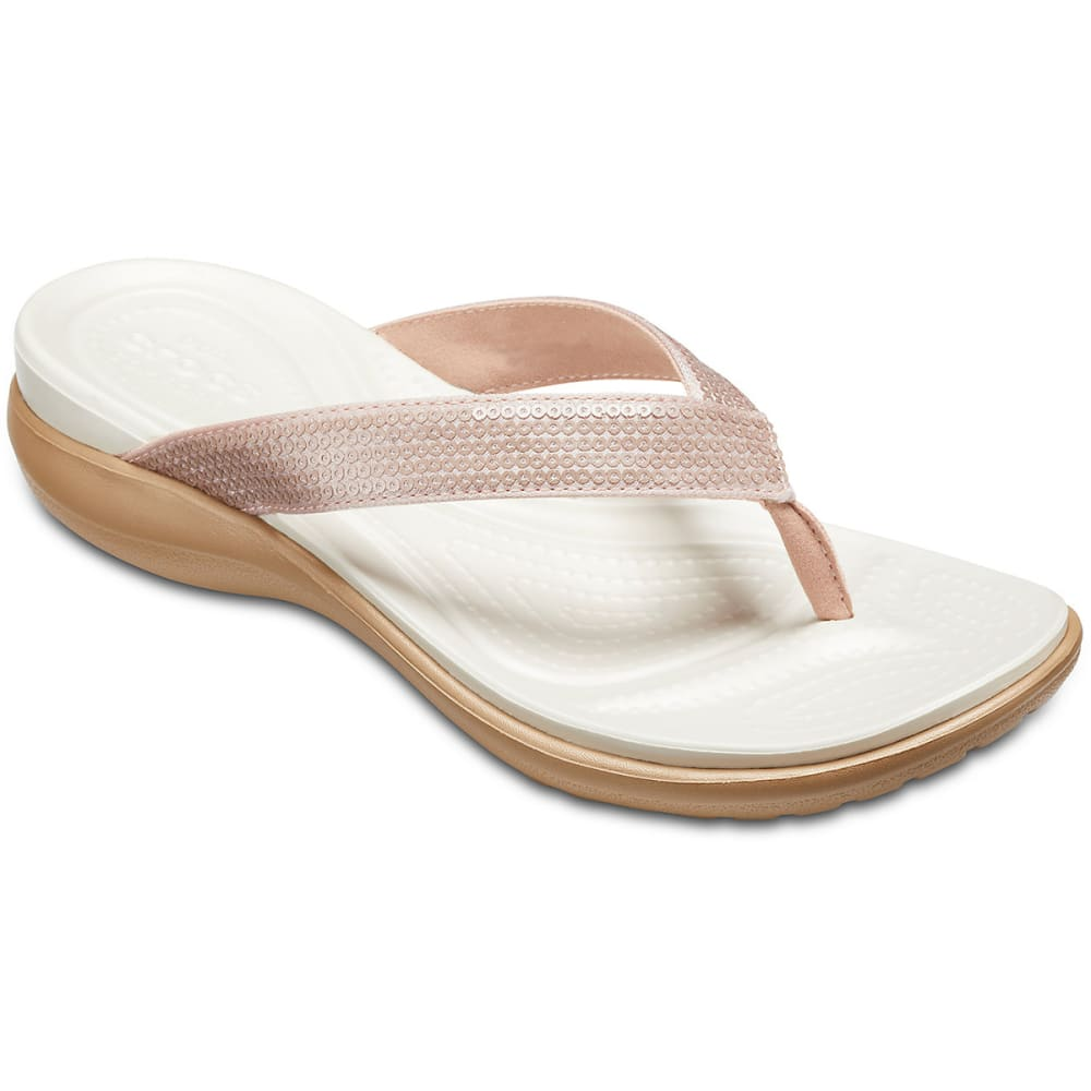 CROCS Women's Capri V Sequin Flip Sandals - ROSE GOLD-7D9