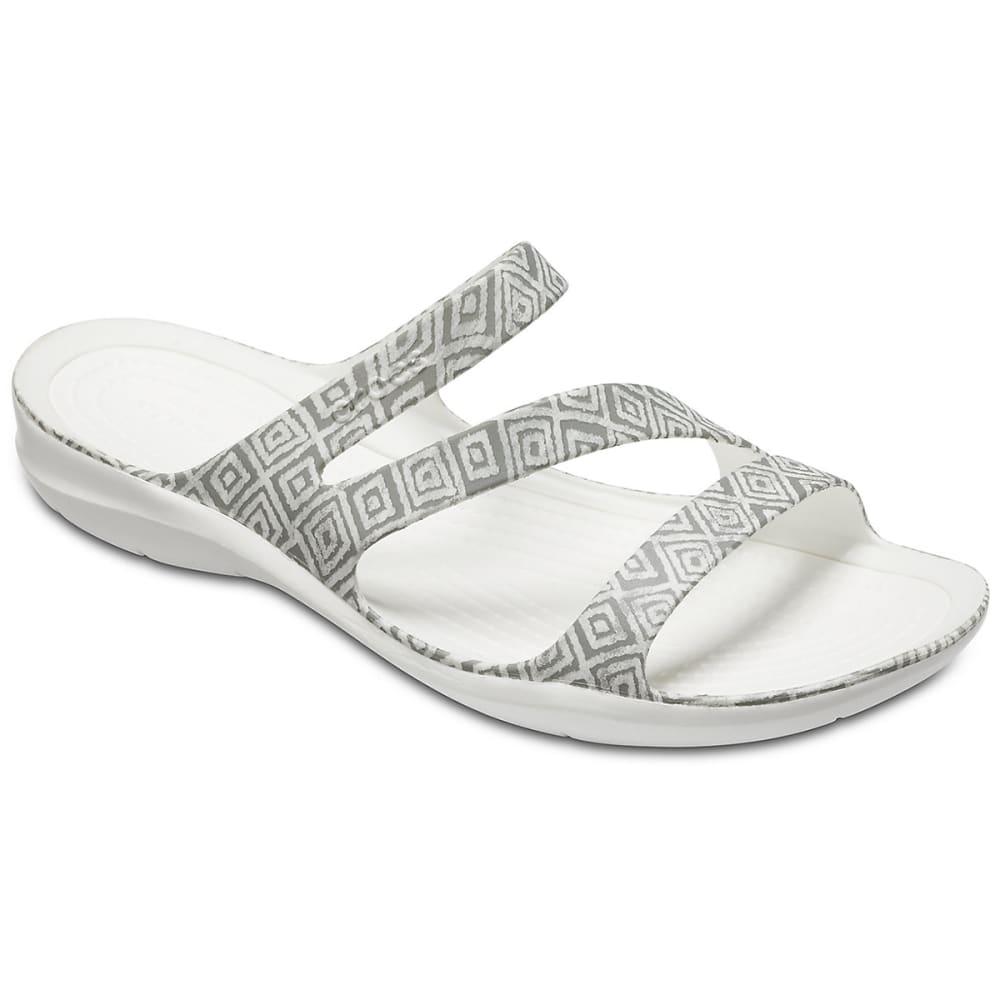 611e307324ea Crocs Women s Swiftwater Graphic Sandals Grey White 9