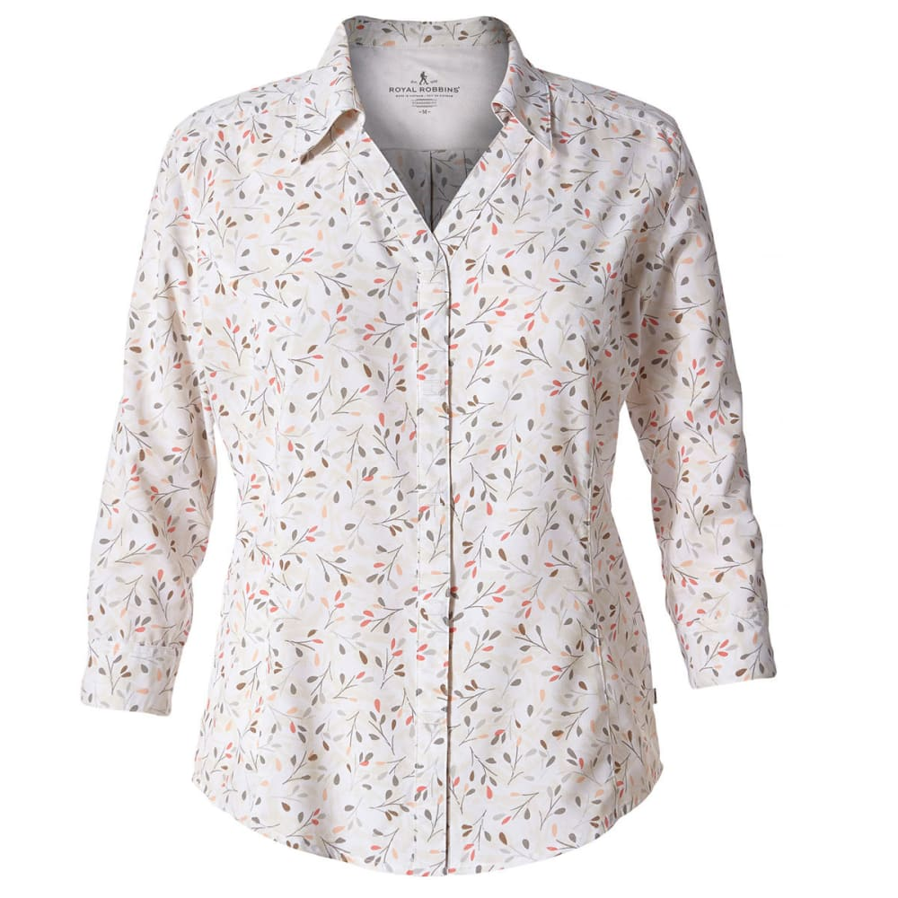 ROYAL ROBBINS Women's Expedition Chill Print ¾-Length Sleeve Shirt - WHITE PRINT