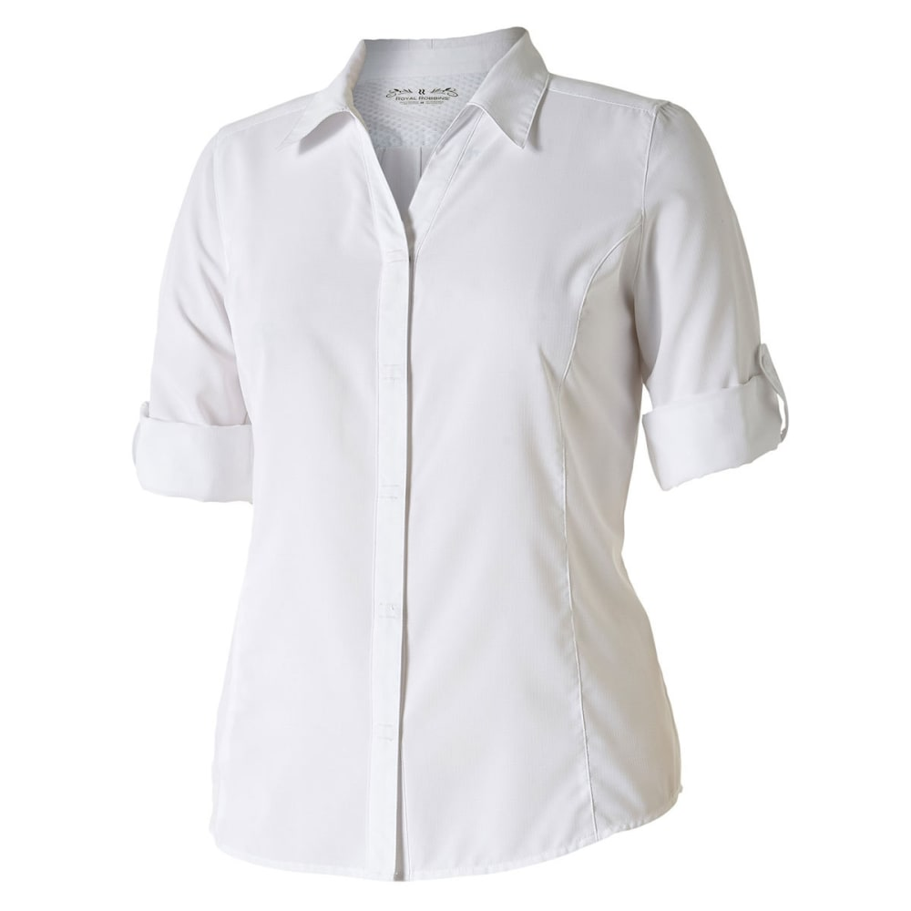 ROYAL ROBBINS Women's Expedition Chill Stretch ¾-Length Sleeve Shirt - WHITE