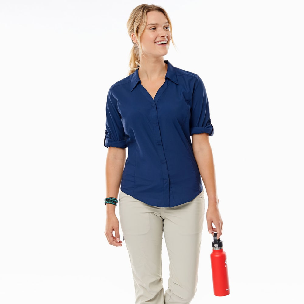 ROYAL ROBBINS Women's Expedition Chill Stretch ¾-Length Sleeve Shirt - DEEP BLUE
