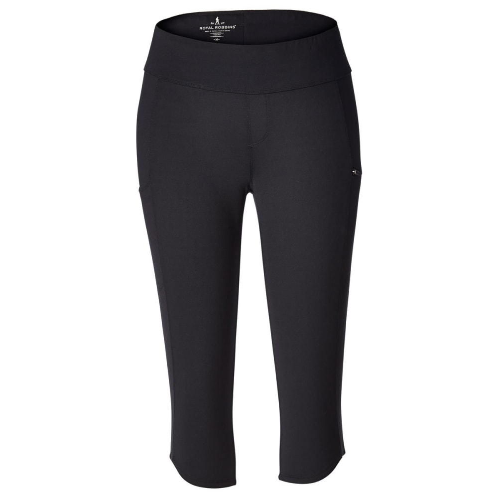 ROYAL ROBBINS Women's Jammer Knit Knicker Capri Pants - JET BLACK