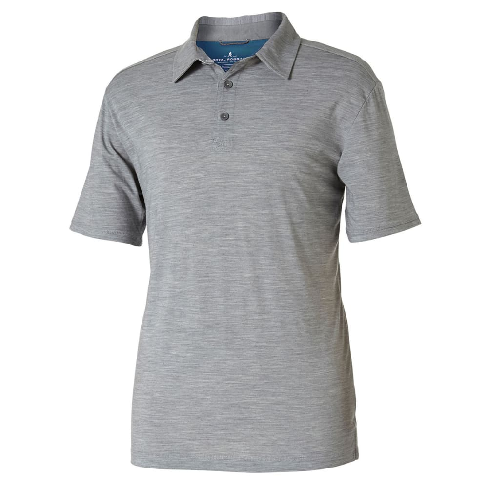 ROYAL ROBBINS Men's Merinolux Short-Sleeve Polo Shirt - LT PEWTER