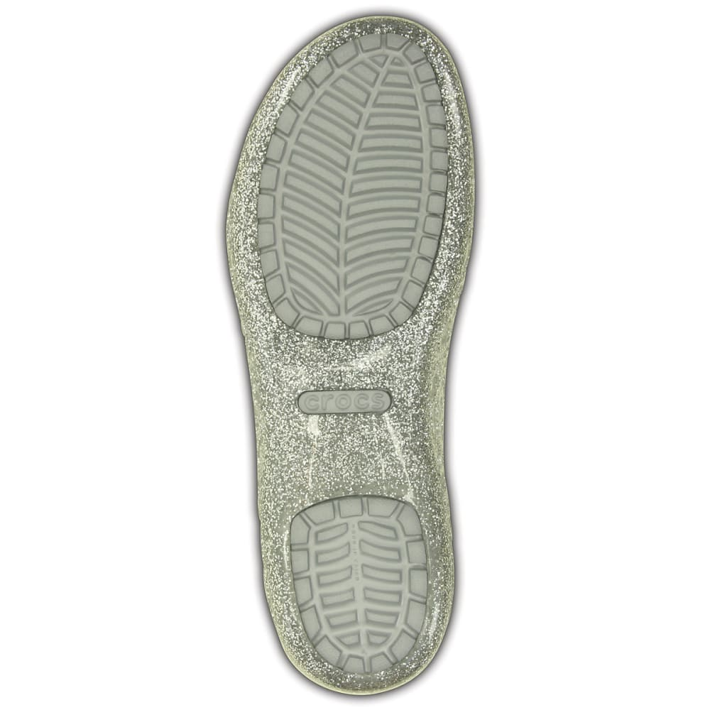 CROCS Girls' Isabella Glitter Flats - Silver-040