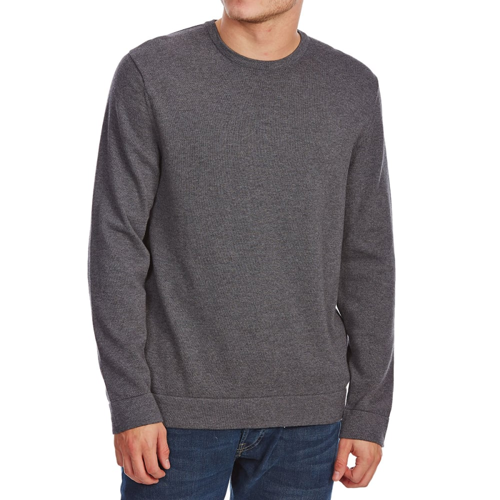 G.H. BASS & CO. Men's Long-Sleeve Crew Sweater with Elbow Patches - CHAR HTR-063