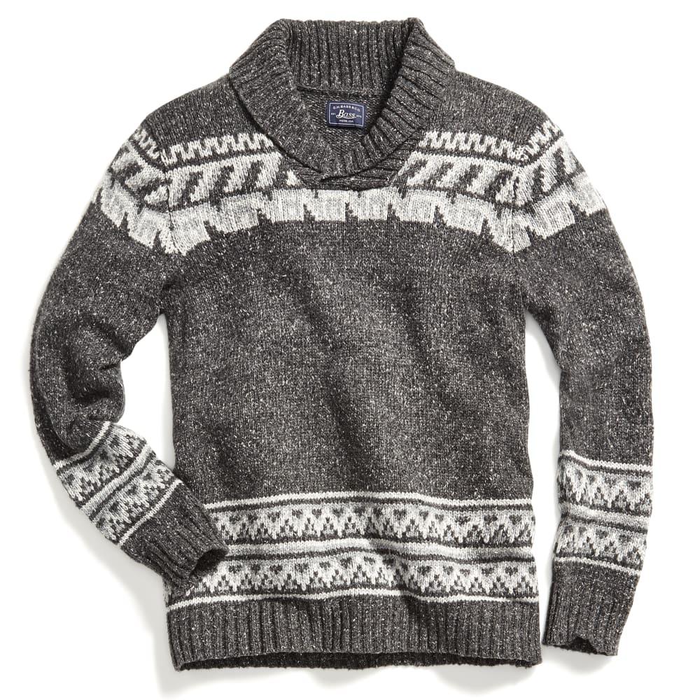 G.H. BASS & CO. Men's Cowichan Shawl Long-Sleeve Sweater - MD GRY HTR-063