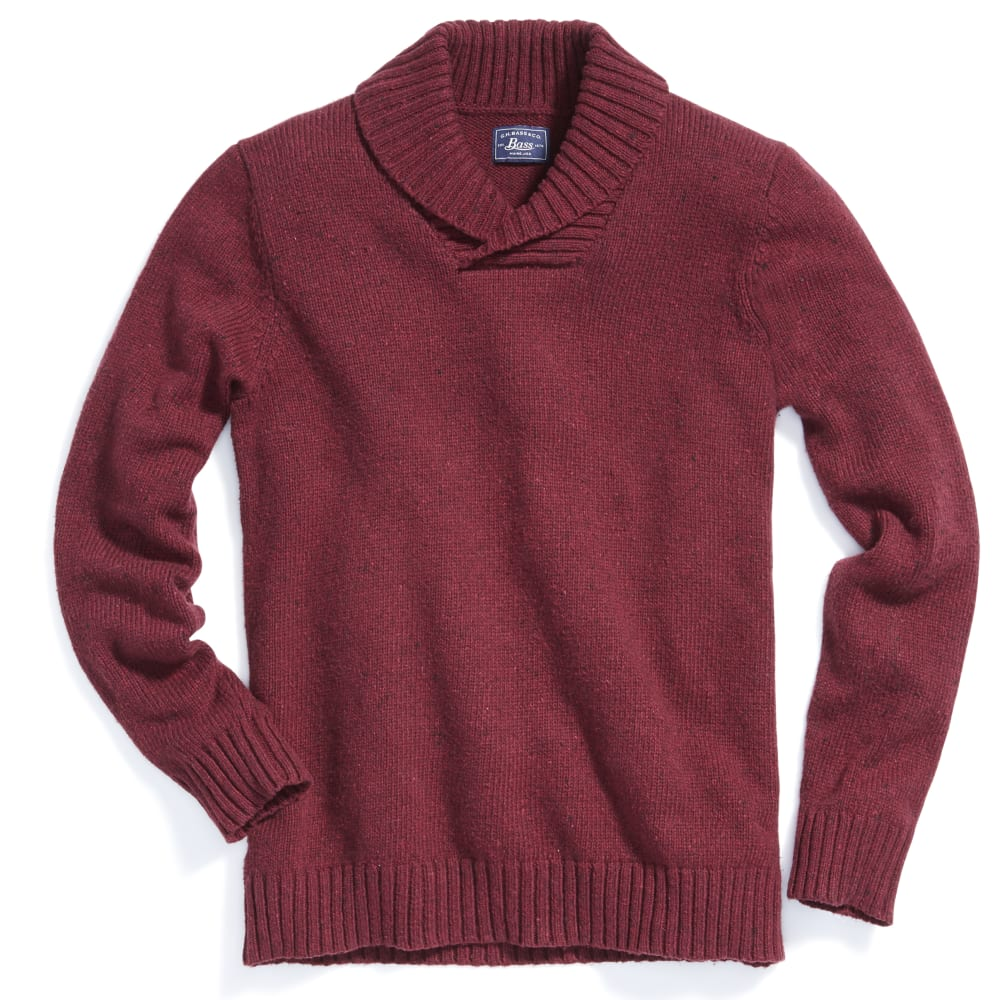 G.H. BASS & CO. Men's Donegal Shawl Collar Sweater - MERLOT-640