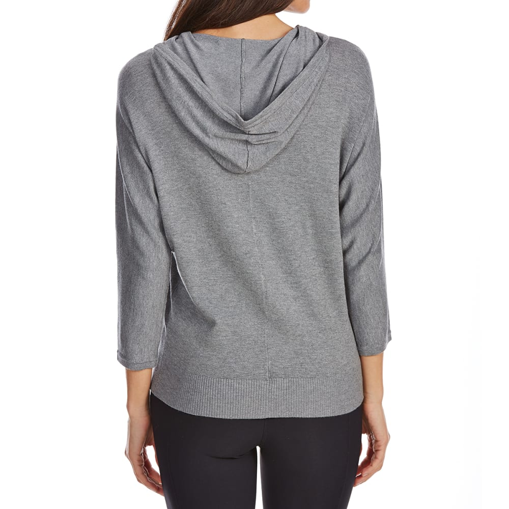 G.H. BASS & CO. Women's ¾-Sleeve Full-Zip Hoodie - 063-MED GREY HEATHER