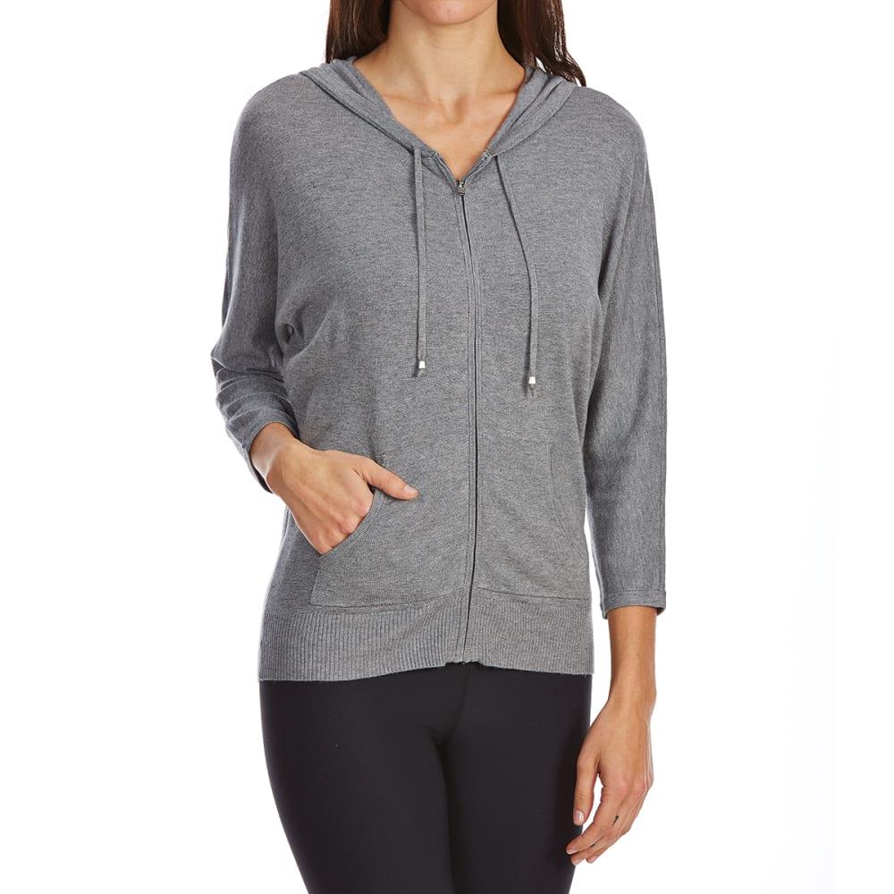 G.H. BASS & CO. Women's 3/4-Sleeve Full-Zip Hoodie - 063-MED GREY HEATHER