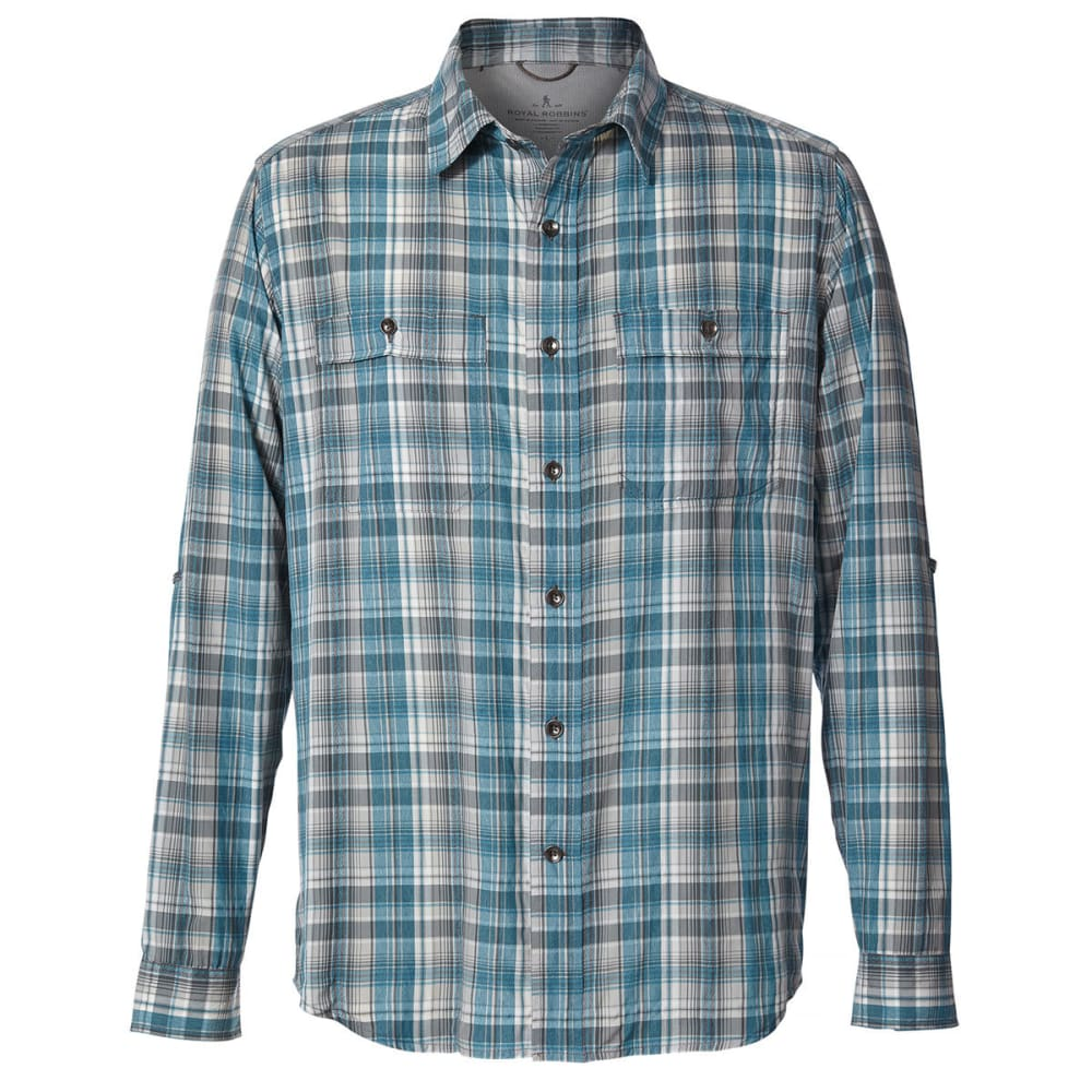 ROYAL ROBBINS Men's Vista Dry Plaid Long-Sleeve Shirt - VIRIDIAN GREEN