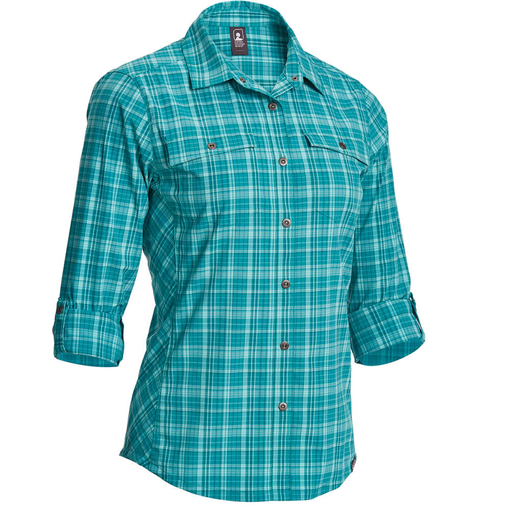 EMS Women's Journey Plaid Long-Sleeve Shirt - QUETZAL GREEN