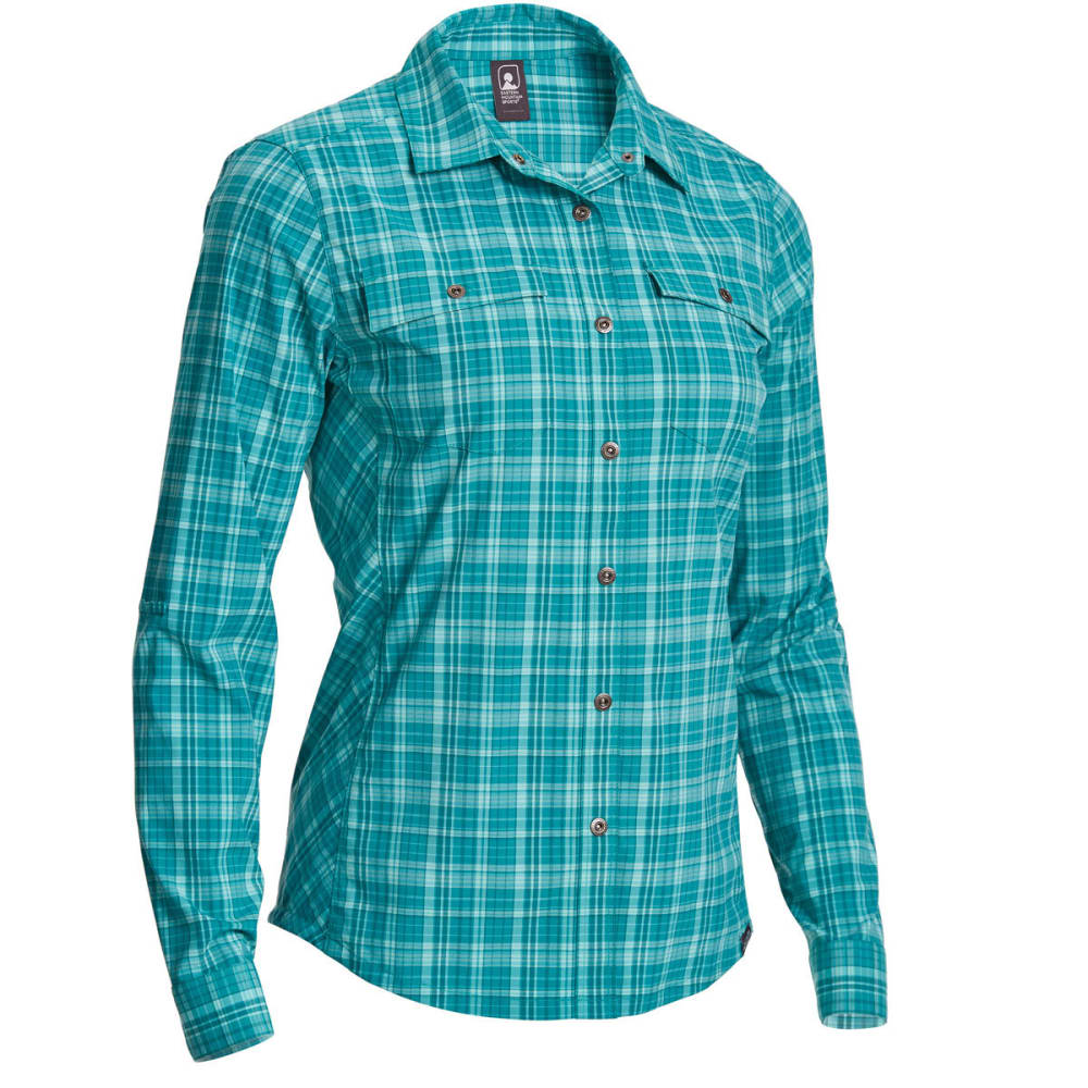 EMS Women's Journey Plaid Long-Sleeve Shirt - QUETZAL GREEN