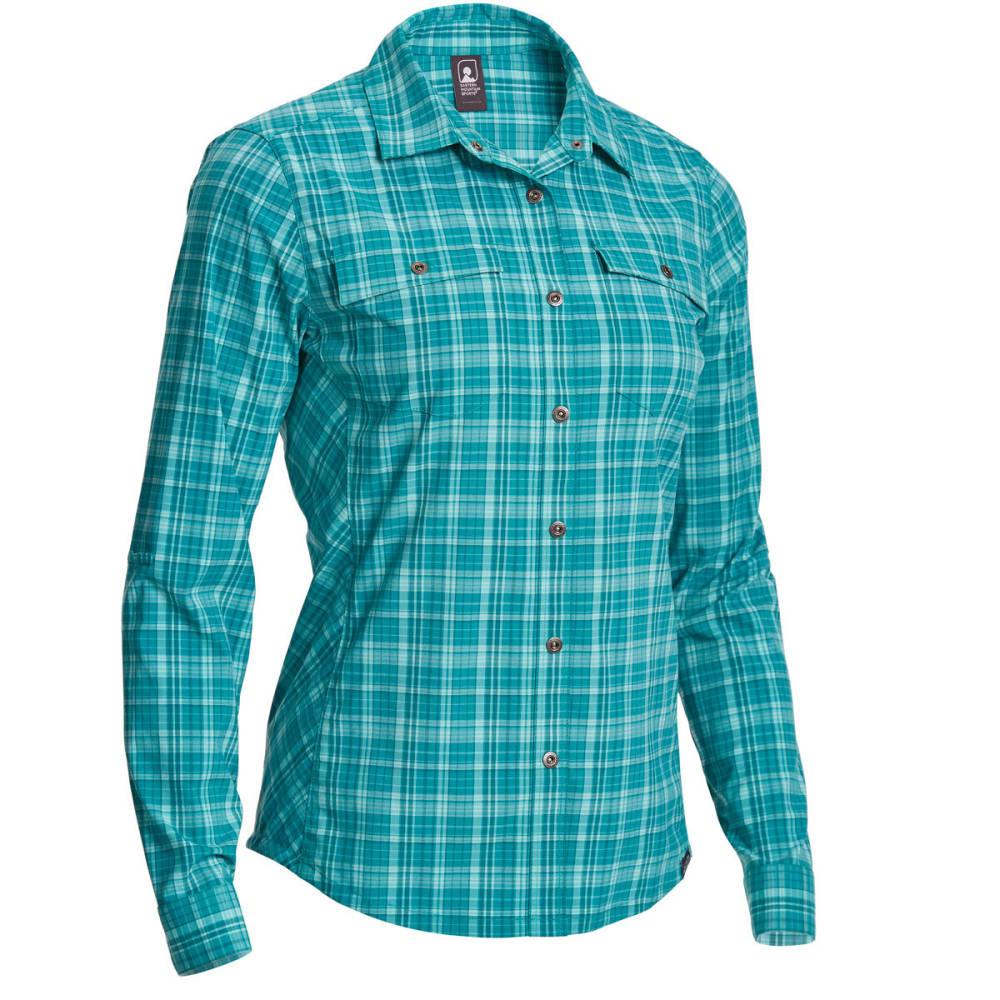 EMS Women's Journey Plaid Long-Sleeve Shirt - Blue - Size XL S18W0716