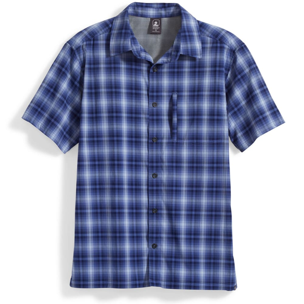 EMS Men's Journey Plaid Short-Sleeve Shirt - GALAXY BLUE
