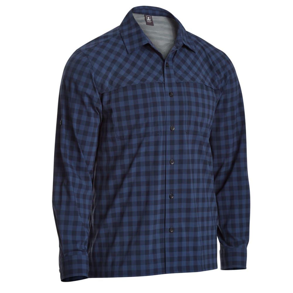 EMS Men's Journey Plaid Long-Sleeve Shirt - NAVY BLAZER