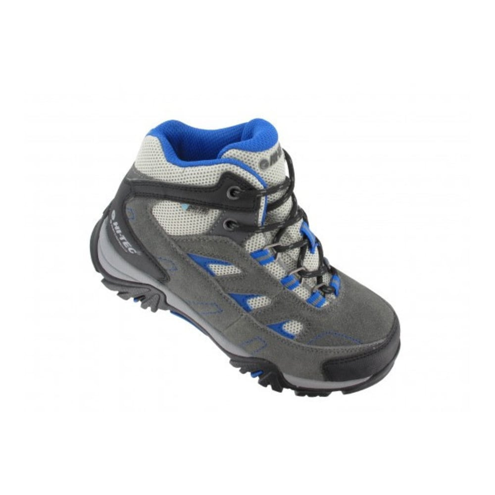 HI TEC Kid's Logan WP Hiking Shoe, Grey - CHARCOAL/GREY/COBALT