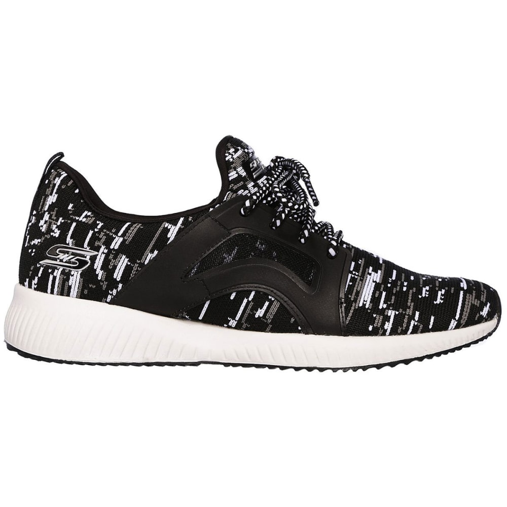 SKECHERS Women's Bobs Sport Squad - Double Dare Sneakers, Black/White - BLACK/WHITE