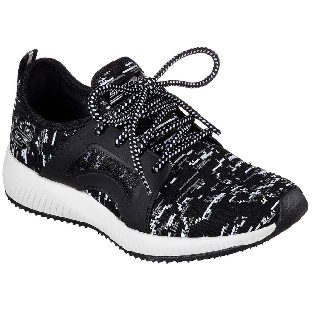 SKECHERS Women's Bobs Sport Squad - Double Dare Sneakers, Black/White - BLACK/WHITE