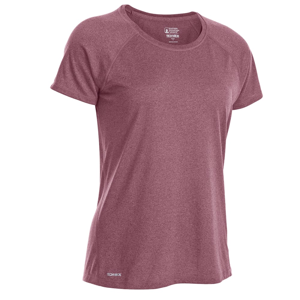 EMS Women's Techwick Essence Crew Short-Sleeve Shirt - RED PLUM HTR