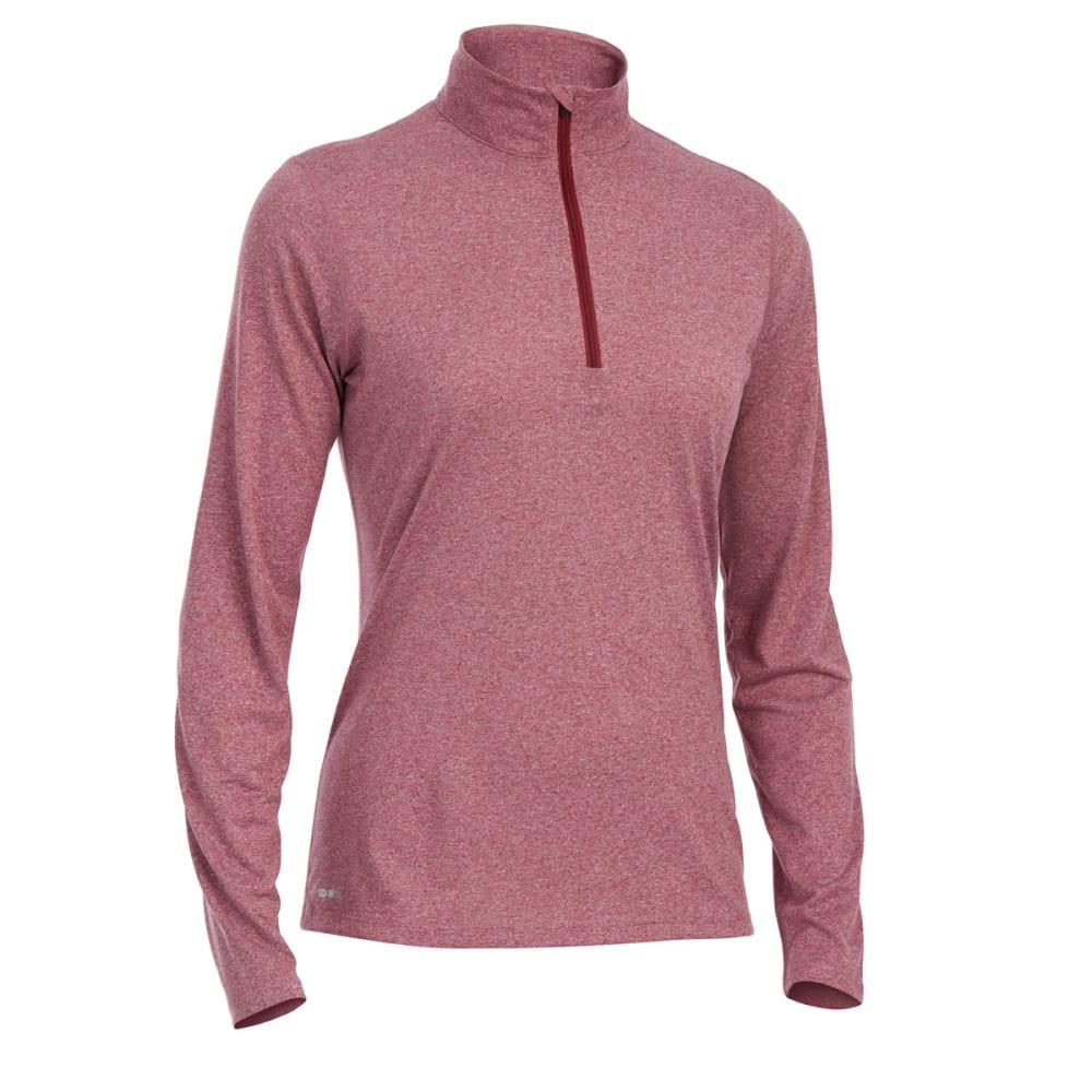 EMS Women's Techwick Essence 1/4-Zip Pullover - RED PLUM HTR