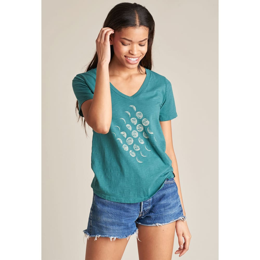 UNITED BY BLUE Women's Moon Cycle V-Neck Tee - TEAL-37