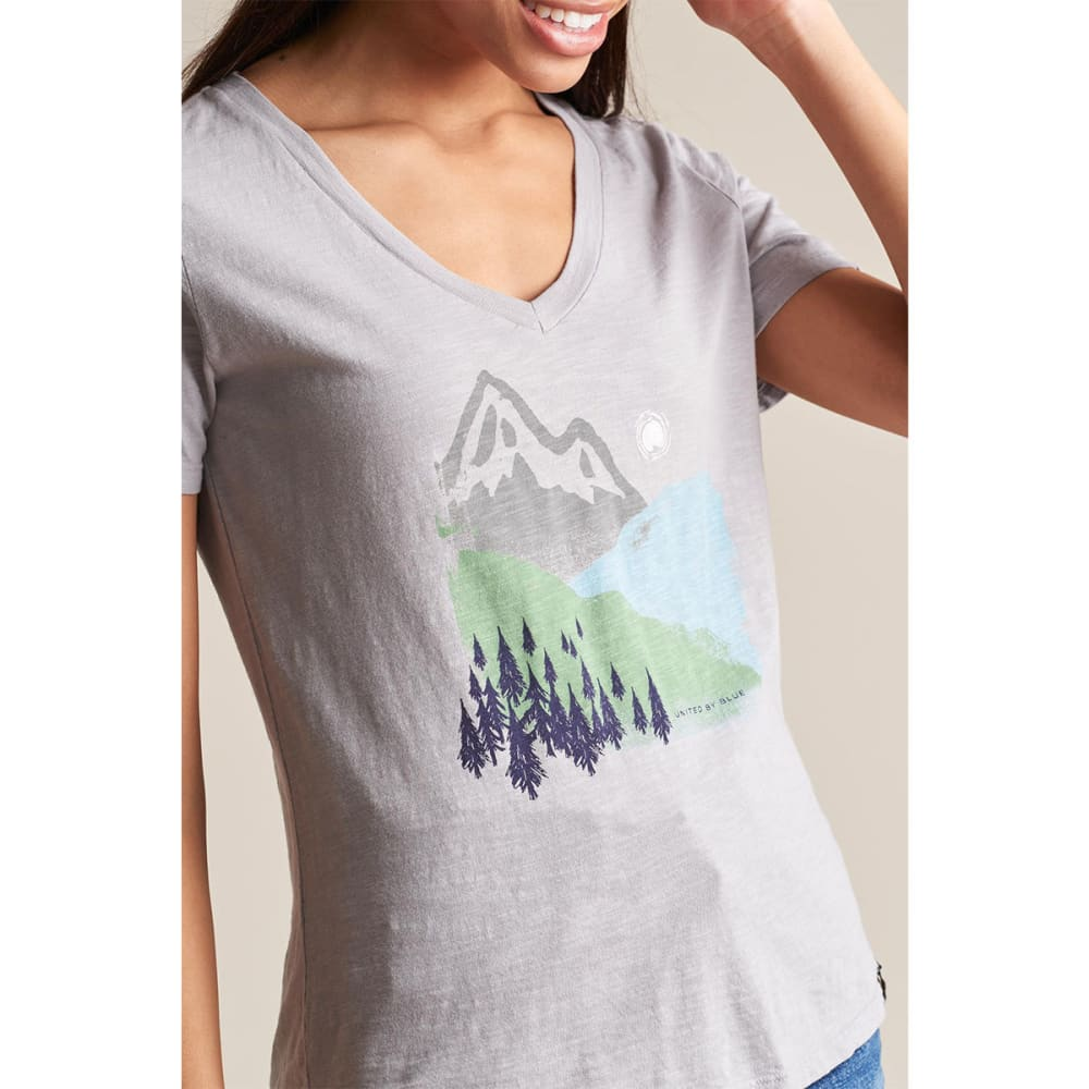 UNITED BY BLUE Women's Mountain Ink V-Neck Tee - GREY-29
