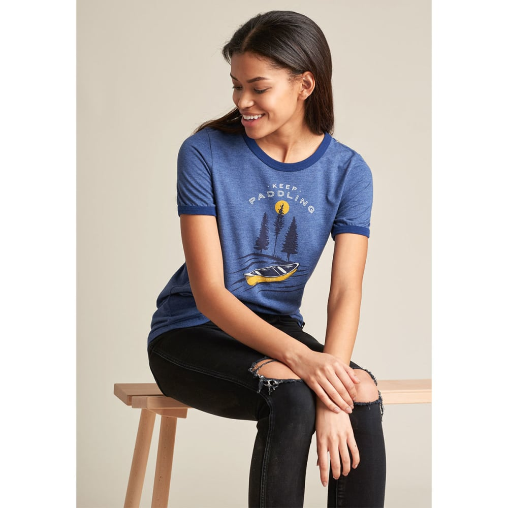 UNITED BY BLUE Women's Keep Paddling Ringer Tee - NAVY-36