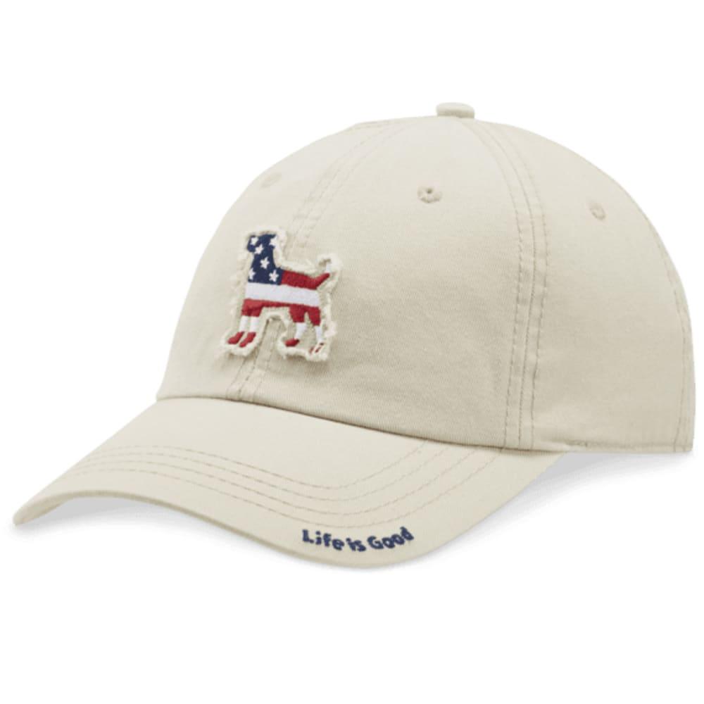 LIFE IS GOOD Men's Dog Flag Tattered Chill Cap - BONE
