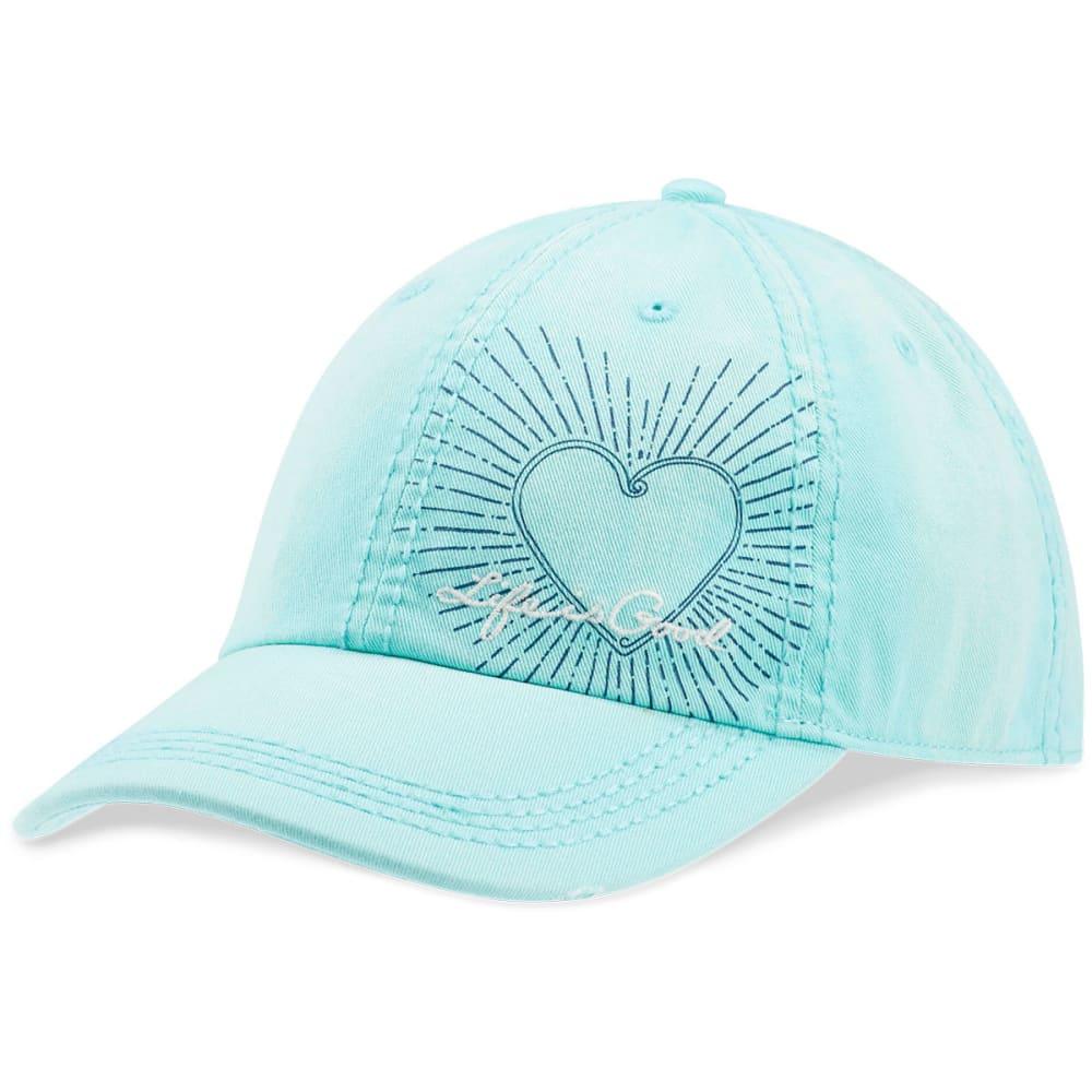 LIFE IS GOOD Women's LIG Heart Radiate Sunwashed Chill Cap - COOL AQUA