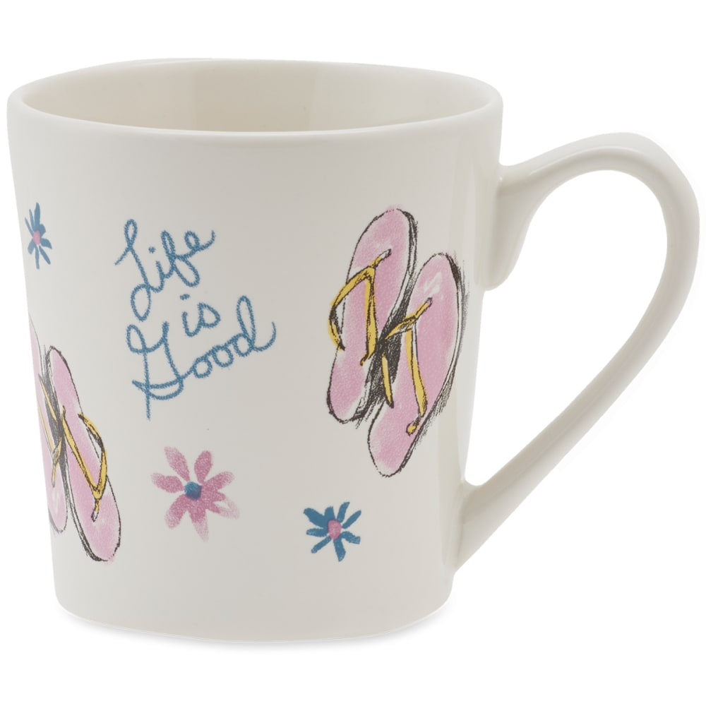 LIFE IS GOOD Flip Flop Toss Everyday Mug - CLOUD WHIE