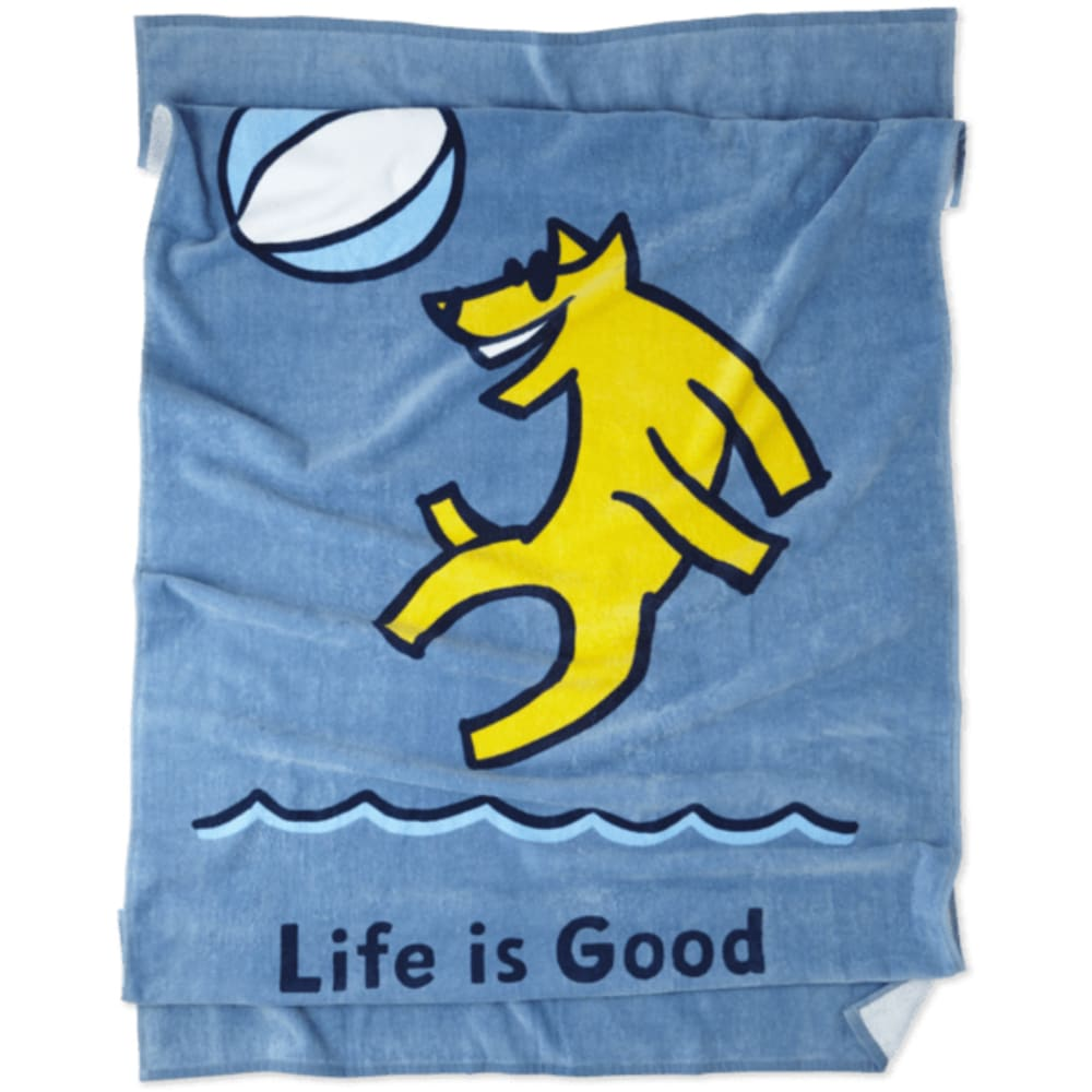 LIFE IS GOOD Beach Ball Rocket Beach Towel - POWDER BLUE