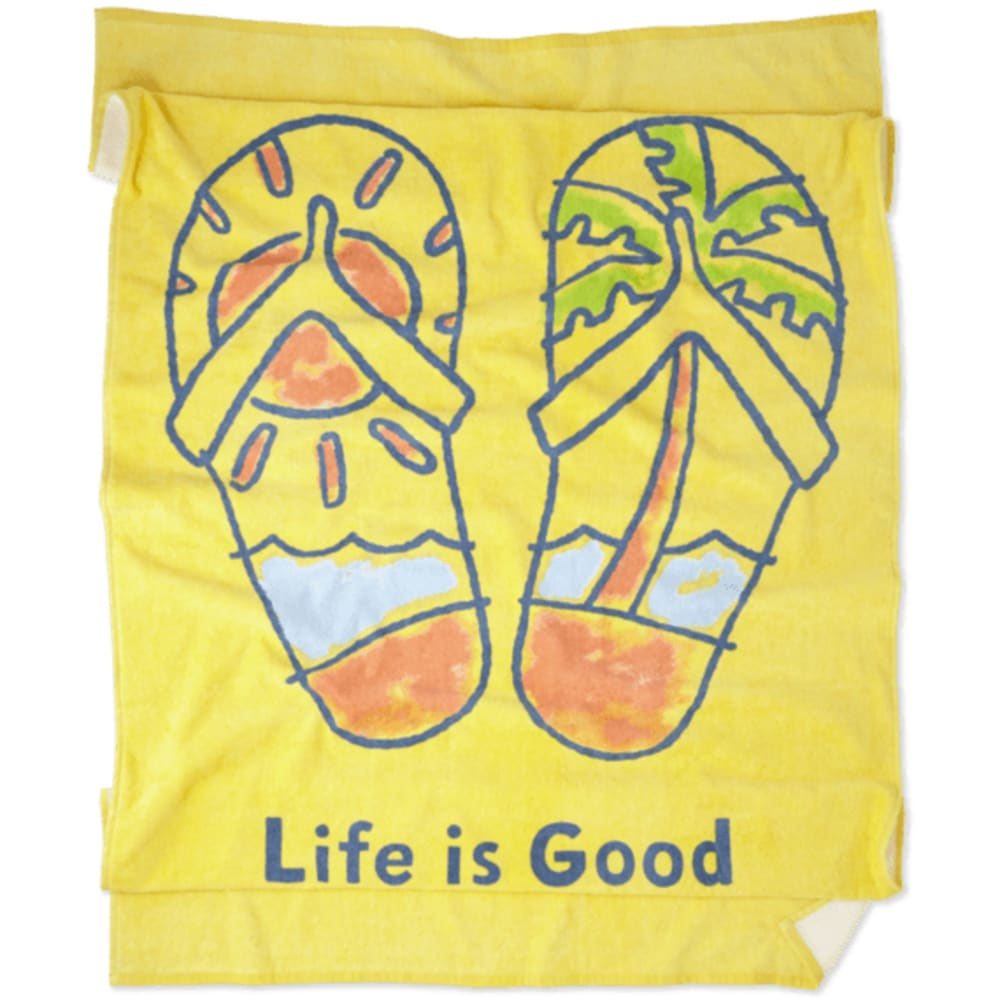 LIFE IS GOOD Flip Flop Scene Beach Towel - HAPPY YELLOW