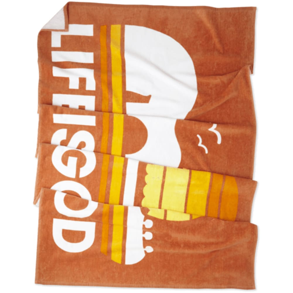 LIFE IS GOOD Sunset Guitar Beach Towel - SANDY ORANGE