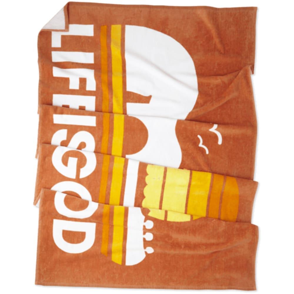 LIFE IS GOOD Sunset Guitar Beach Towel - SANDY ORANGE