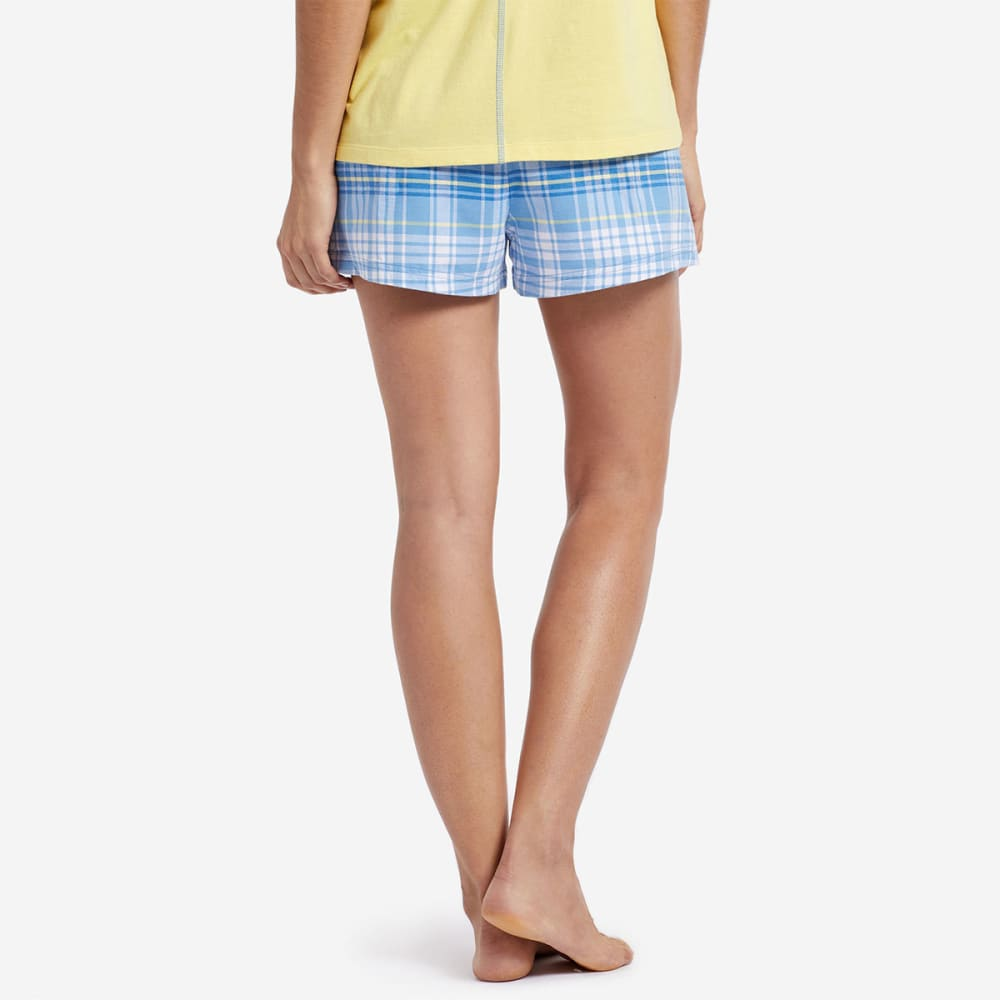 LIFE IS GOOD Women's Plaid Sleep Shorts - BLUE